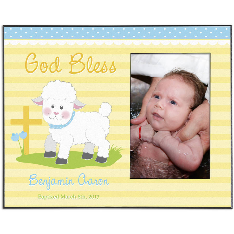 Personalized Sweet Blessings Christening Lamb Frame, Available in Blue or Pink