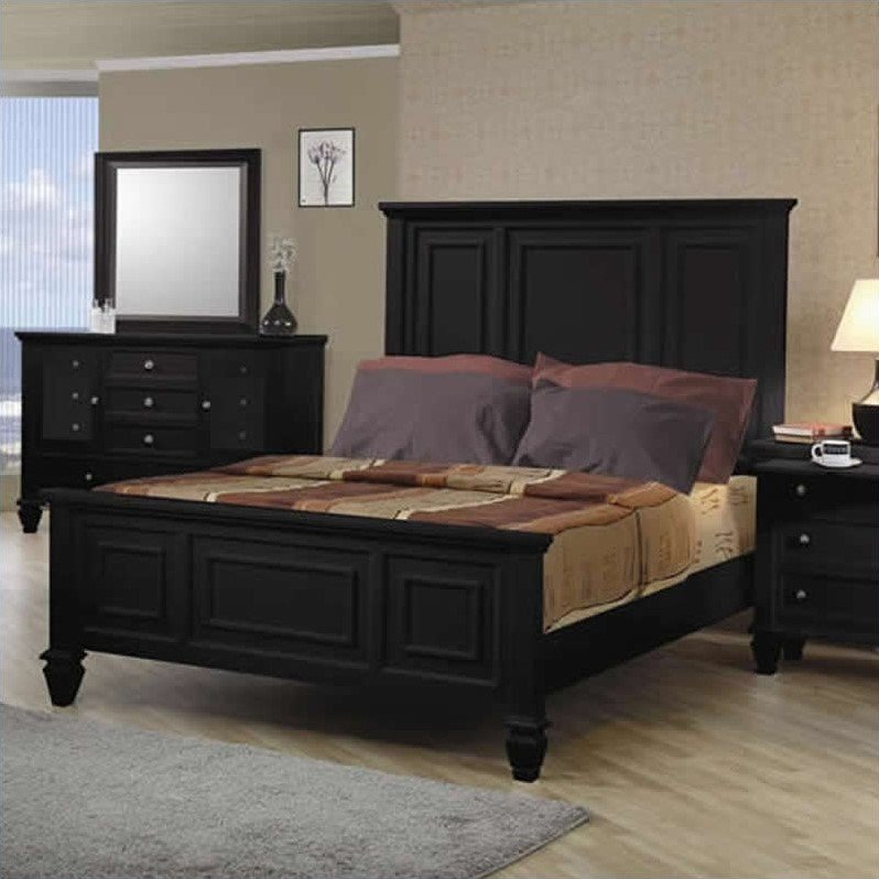 Coaster Sandy Beach Classic Panel Bed in Black Finish-King