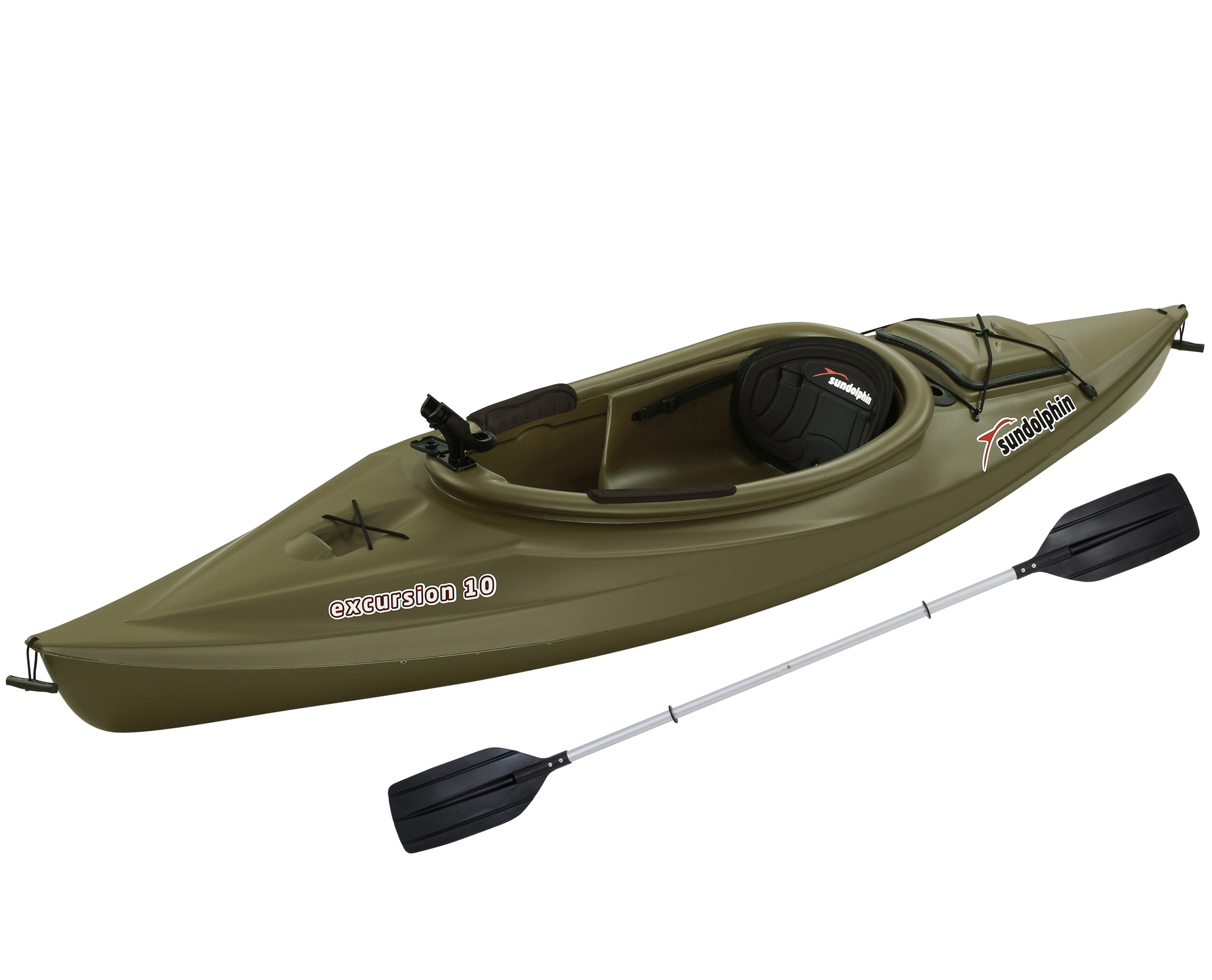 Sun Dolphin Excursion 10' Sit In Fishing Kayak Olive, Includes Paddle by KL Outdoor
