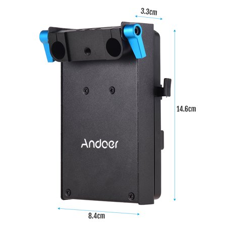 Andoer V Mount V-lock Battery Plate Adapter with 15mm Dual Hole Rod Clamp LP-E6 Dummy Battery Adapter for BMCC BMPCC Canon 5D2/5D3/5D4/80D/6D2/7D2 for Monitor Audio Recorder Microphone Frequency Divid