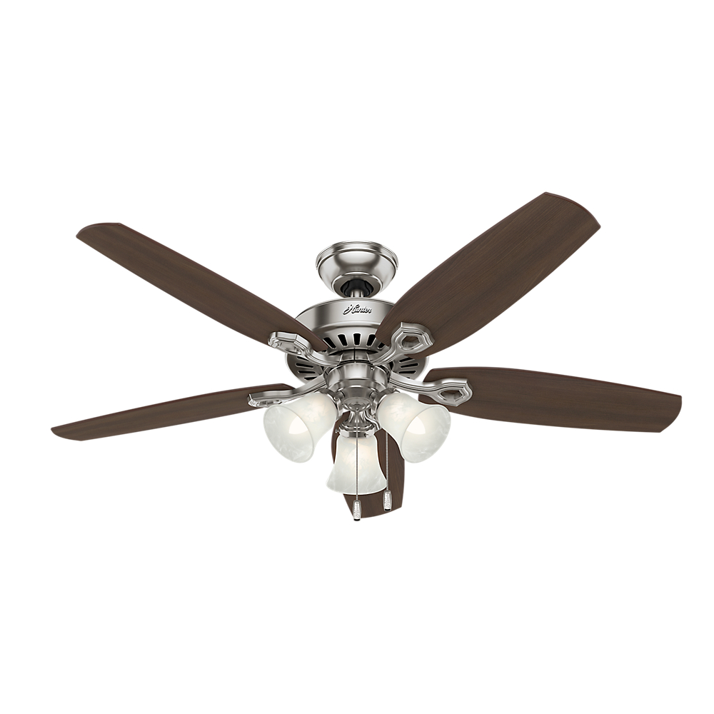 "Hunter 52"" Builder Plus Brushed Nickel Ceiling Fan with Light by Hunter Fan Co"