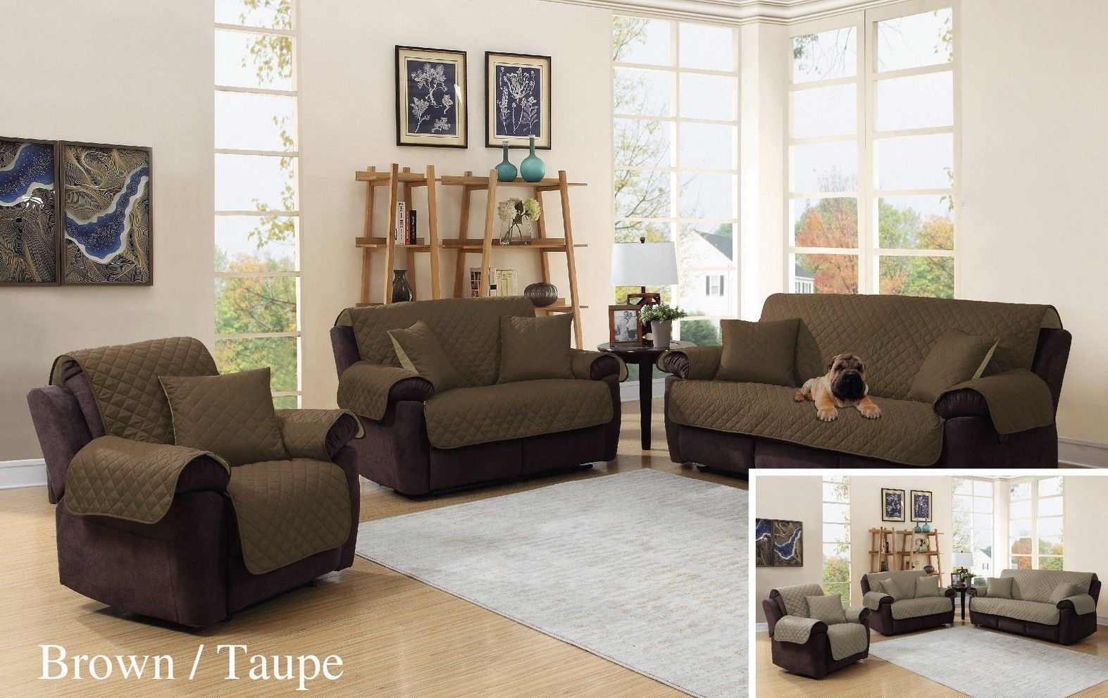 Brown/Taupe 3 Piece Reversible Quilted Microfiber Sofa Furniture Protector  Set, One (