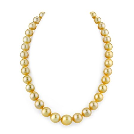 "14K Gold 10-12mm Golden South Sea Cultured Pearl Necklace - AAA Quality, 18"" Princess Length"