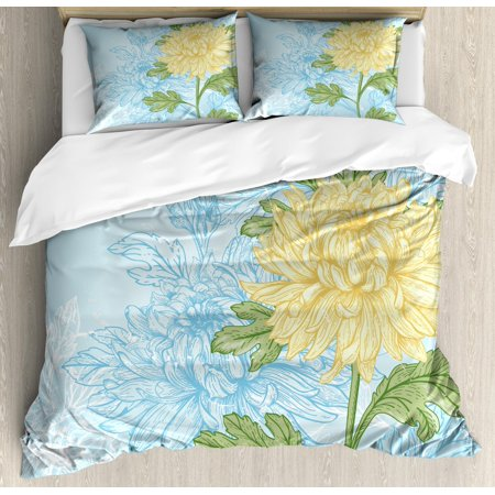 Flower Duvet Cover Set King Size, Yellow Flower Chrysanthemum on a Blue Abstract and Romantic, Decorative 3 Piece Bedding Set with 2 Pillow Shams, Pale Blue Olive Green Pale Yellow, by Ambesonne