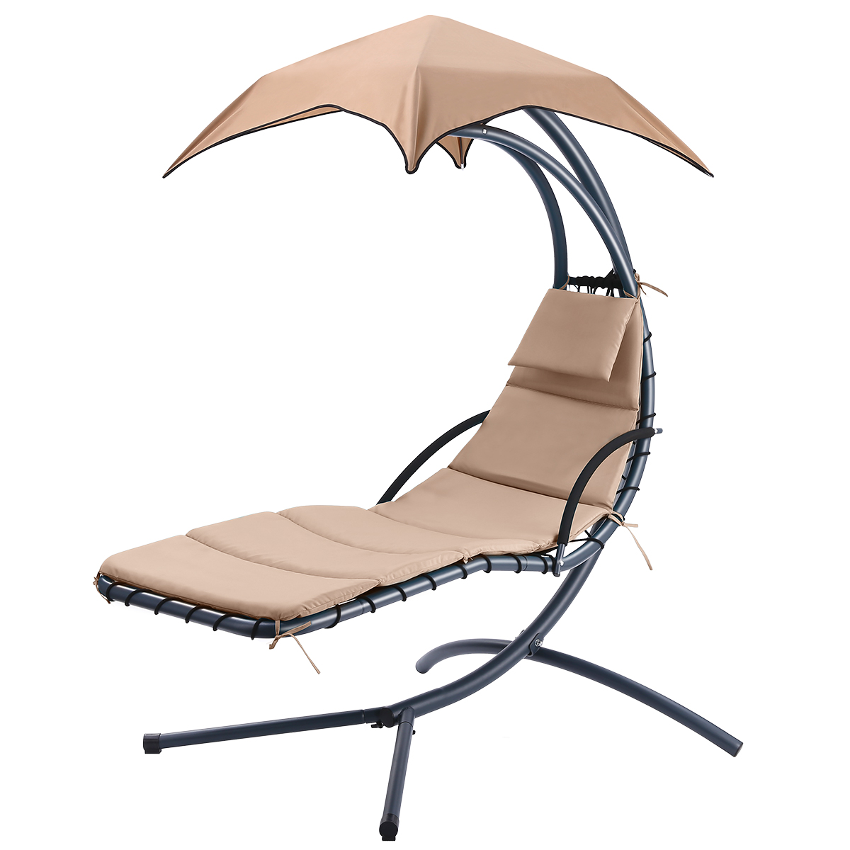 Hanging Rocking Sunshade Canopy Chair with Umbrella