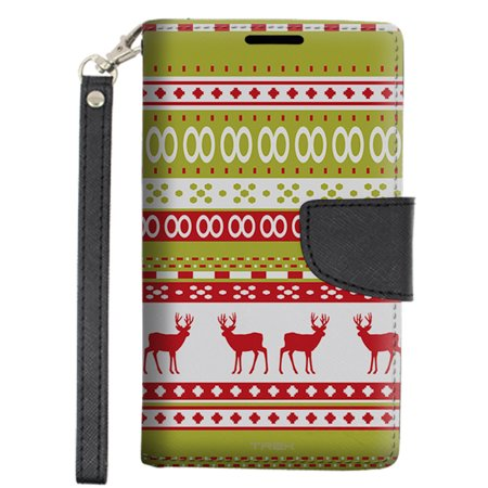 Alcatel OneTouch Conquest Wallet Case - Knitted Red Reindeer Design