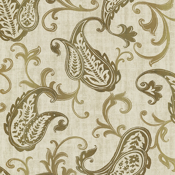 Kenneth James Darro Gold Global Paisley Wallpaper