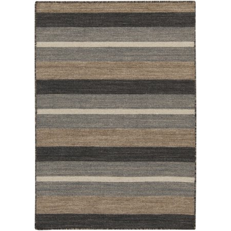 2' x 3' Beige and Gray Striped Hand Woven Wool Rectangular Area Throw Rug ()