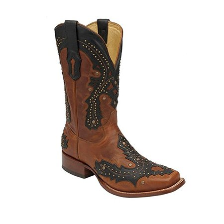 CORRAL Men's Studded Overlay Square Toe Cowboy Boots A2625 (8 D(M) US)