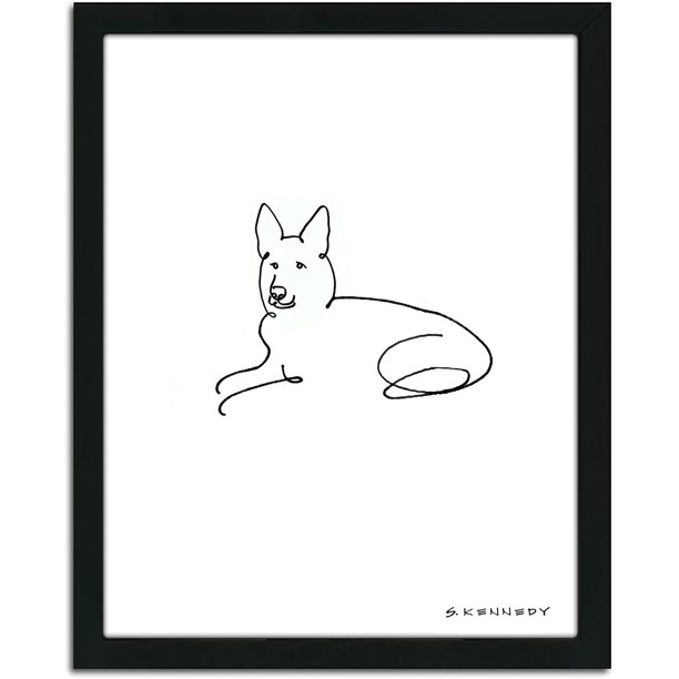 Personal Prints German Shepherd Dog Line Drawing Framed Art Walmart Com Walmart Com