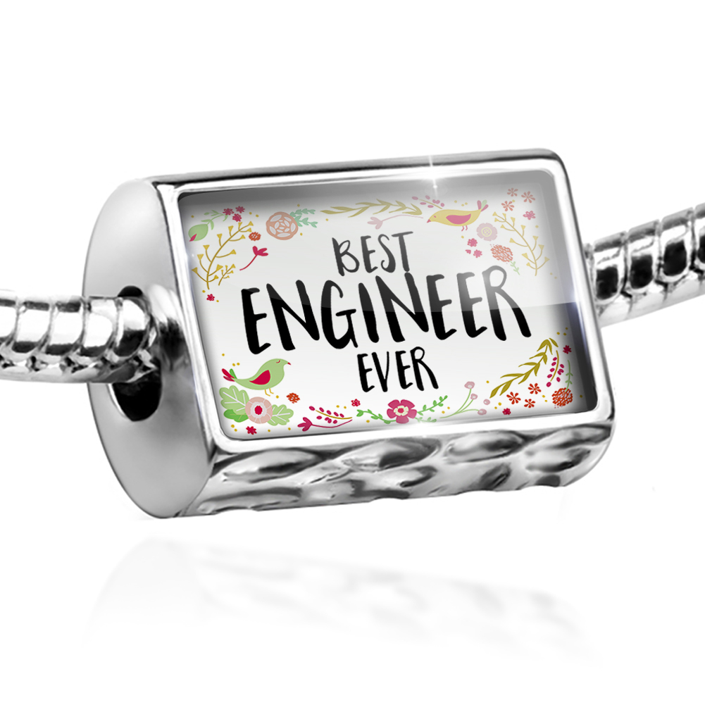 Bead Happy Floral Border Engineer Charm Fits All European Bracelets