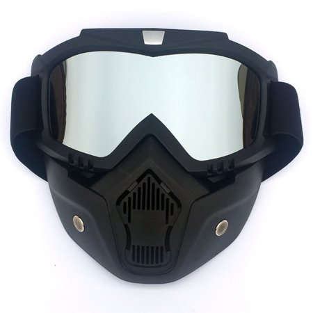 Motorcycle Goggles Sun Protection Motorcycle Riding Ski Snow Full Face Goggles Glasses Detachable for Motocross Helmet Color:Clear Lens - image 7 de 8