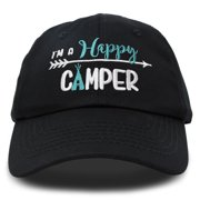 DALIX Womens Happy Camper Hat Soft Cotton Camping Caps in Black - Teal