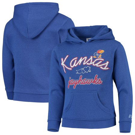 Girls Youth Russell Athletic Heathered Royal Kansas Jayhawks Classic Fleece Pullover Hoodie Women Classic Fleece
