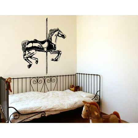 Chinese Silver Horse - Carousel Horse Set Wall Decal - Wall Sticker, Vinyl Wall Art, Home Decor, Wall Mural - 2028 - 47in x 58in, Silver