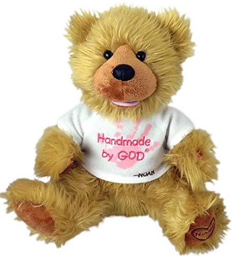 Chantilly Lane G1061 12 In. Noah Bear Hand Made By God Bear With Pink Shirt Toy
