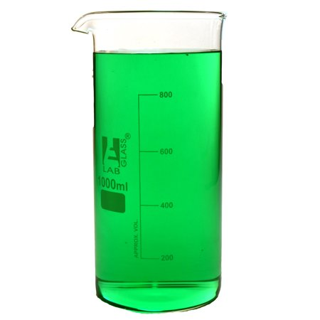 1000ml Beaker; Tall Form; Borosilicate Glass w/ Spout - 200ml Graduations - Eisco Labs