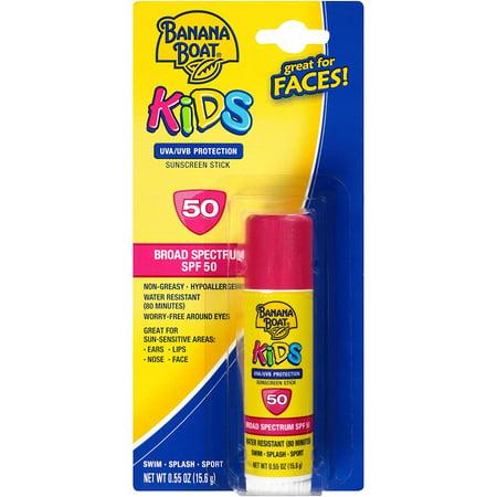 Kids Sunscreen Stick SPF 50 .55 oz UVA/UVB Protection Banana Boat