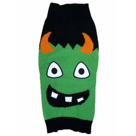 Monsters Inc Costumes For Dogs (Simply Dog Halloween Sweater Costume Black & Green Monster Knit Pet)