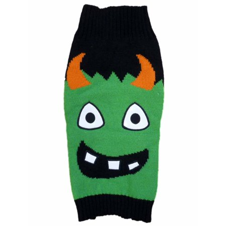 Simply Dog Halloween Sweater Costume Black & Green Monster Knit Pet Outfit
