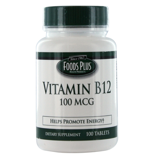 Vitamin B-12 100 Mcg Tablets To Promote Energy By Food Plus - 100 Ea