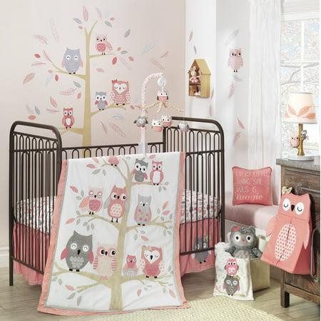 Lambs & Ivy Family Tree 4-Piece Crib Bedding Set - Pink, Gray, White, - Owl Crib Set