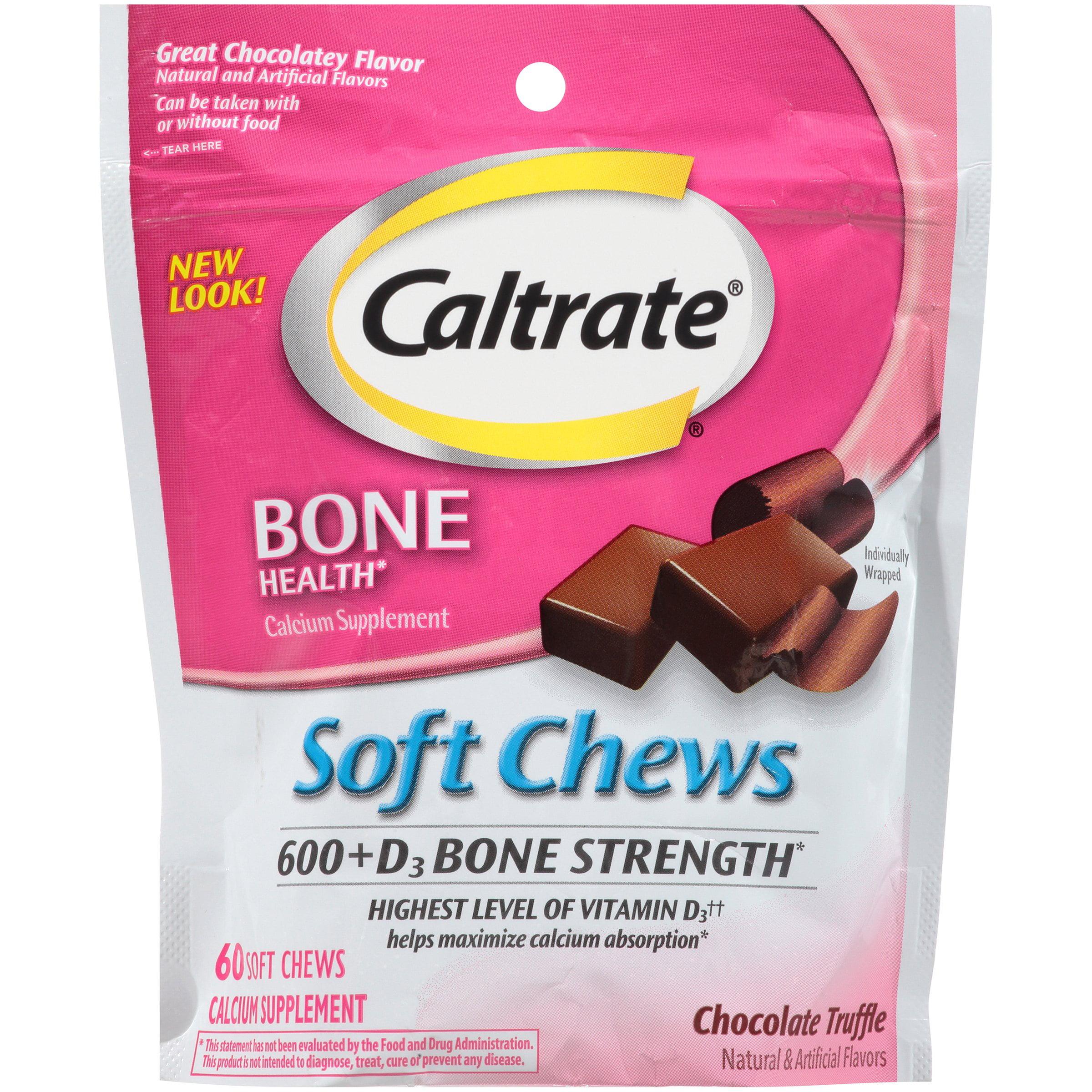 Caltrate Bone Health 600+D3 Chocolate Calcium Soft Chews, 60 Ct