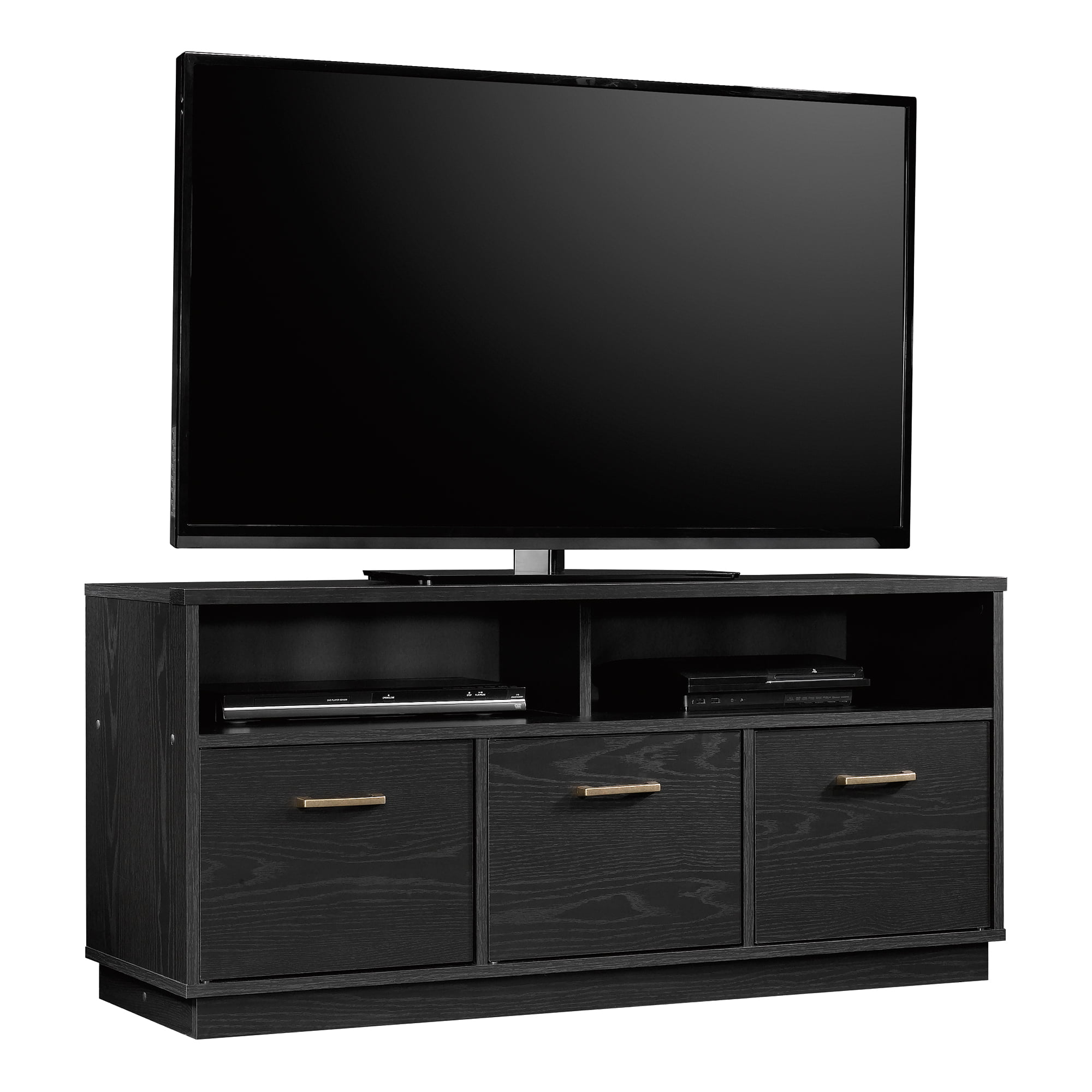 Modern tv stand console with gold accents for tvs up to 50