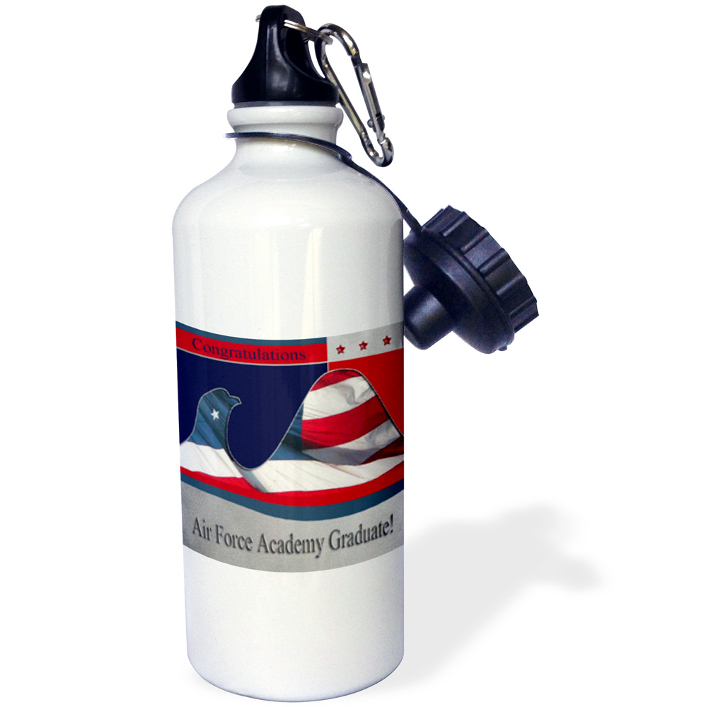 3dRose Congratulations Air Force Academy Graduate, Flag Eagle, Sports Water Bottle, 21oz