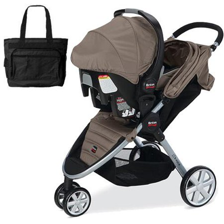 britax b agile and b safe travel system with car seat and diaper bag in sandsto. Black Bedroom Furniture Sets. Home Design Ideas