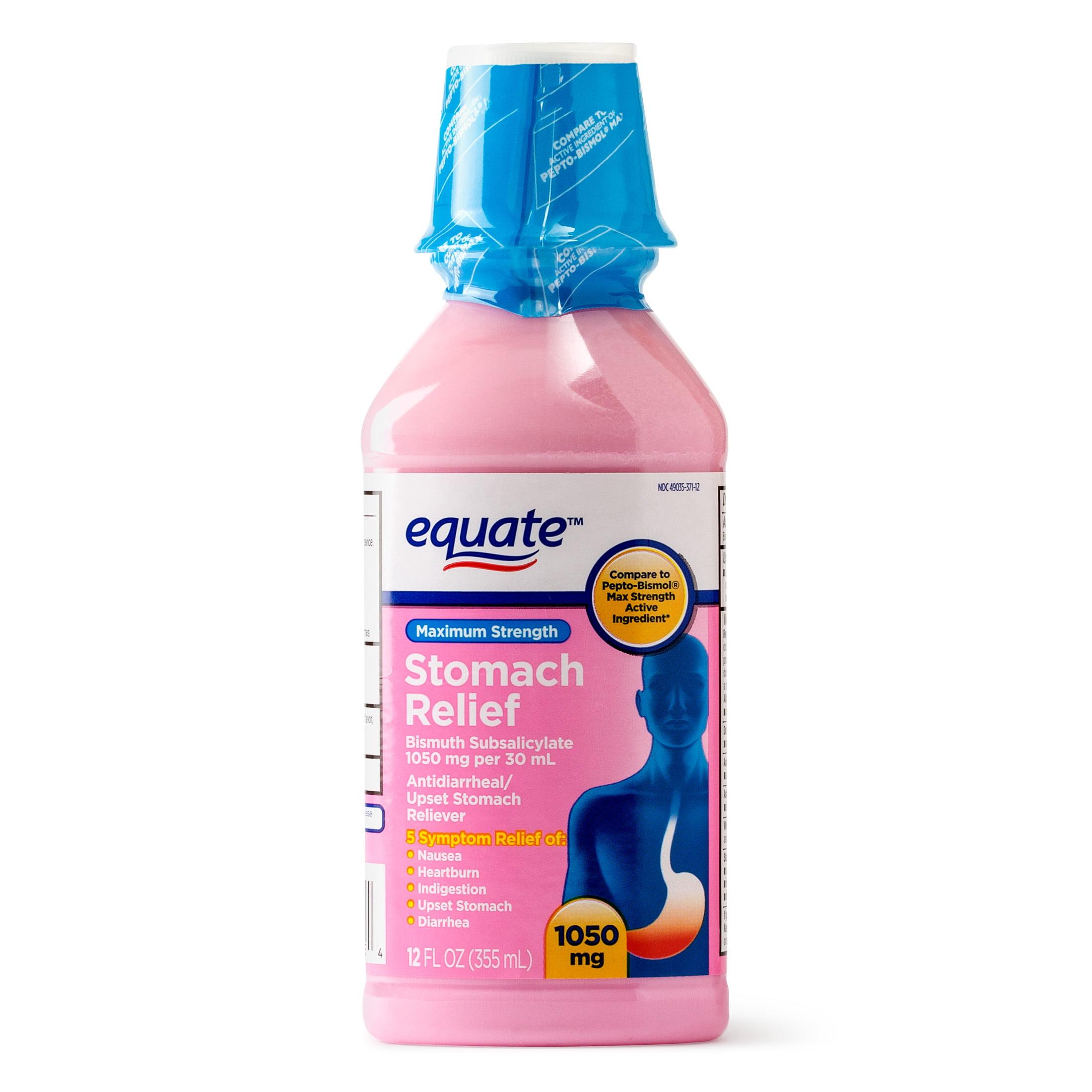 Equate Maximum Strength Stomach Relief Liquid, 1050 mg, 12 Fl Oz