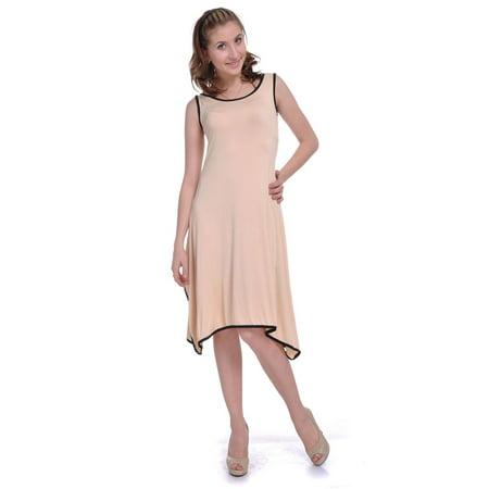 Anna-Kaci S/M Fit Beige with Black Piping Trim Handkerchief Pointed Hem Dress (Dress With Handkerchief Hem)