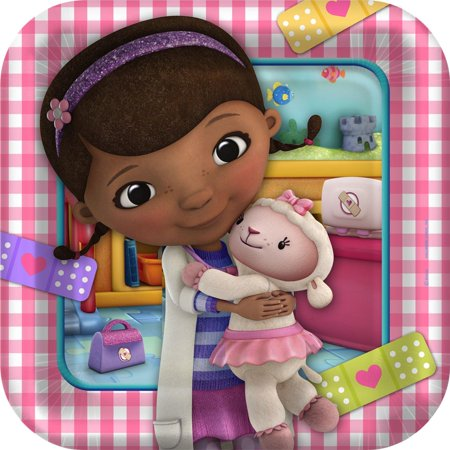 Disney Junior Doc McStuffins Square Dinner Plates (Doc Mcstuffins Table Cloth)