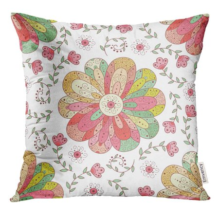 CMFUN Pink Craft with Flowers and Bubbles Leaves Cute Doodle Rainbow Colors Pillow Case 20x20 Inches Pillowcase](Crafts With Leaves)