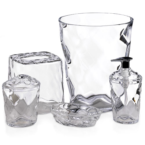 Glass Blocks 5-Piece Bath Accessory Set, Clear