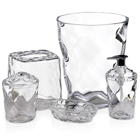 Glass Blocks 5 Piece Bath Accessory Set Clear Walmart Com