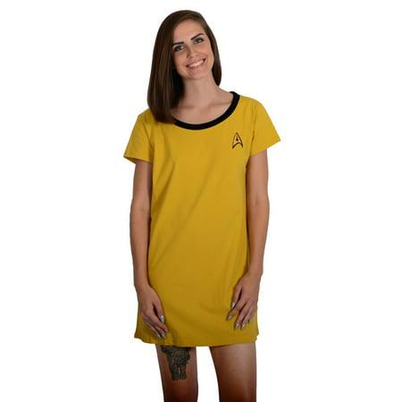 Star Trek Yellow Kirk Ladies Sleep Shirt - - Star Trek Shirt Womens