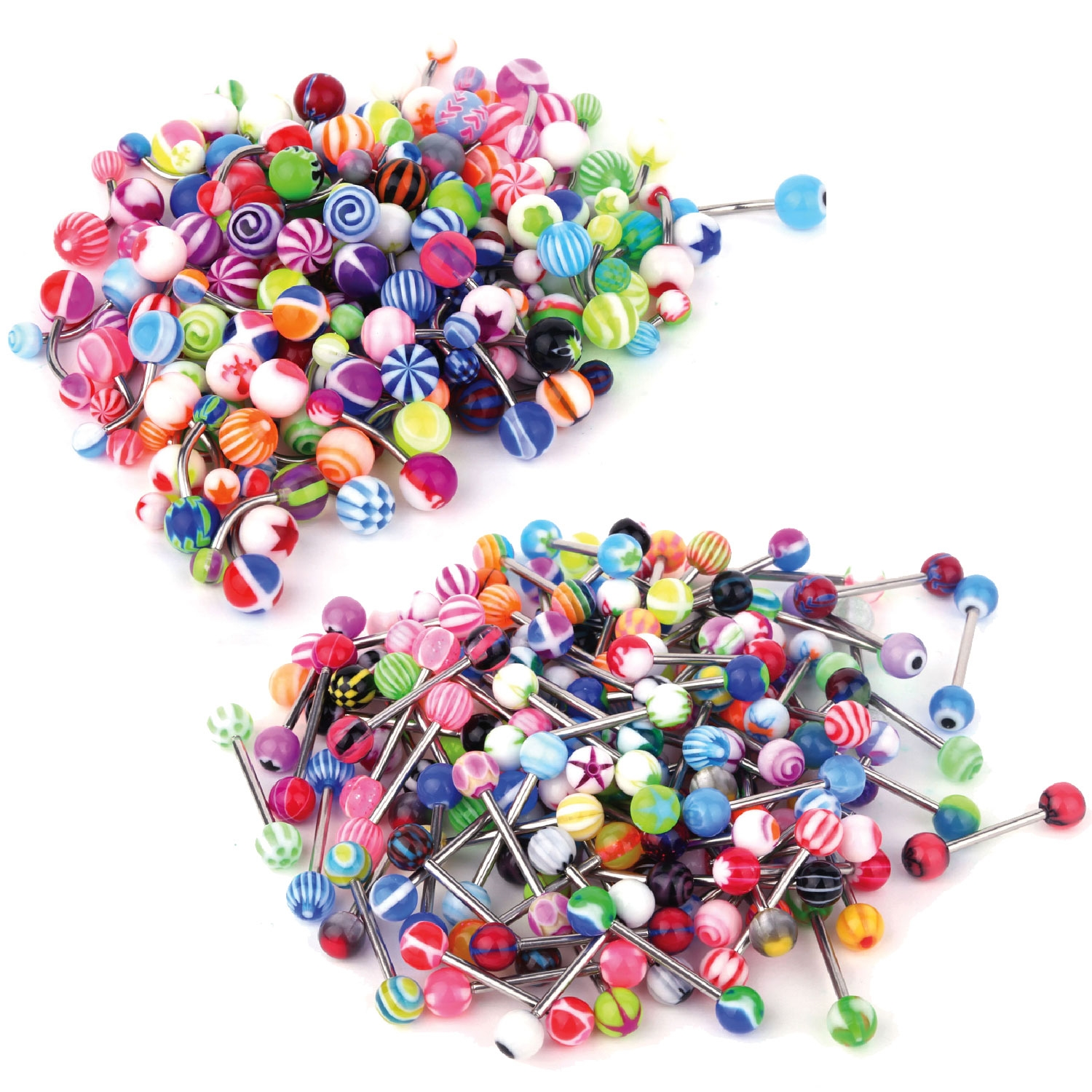 BodyJ4You 100PC Tongue Barbells Belly Rings Steel Bar Steel 14G Acrylic Balls Body Piercing Jewelry
