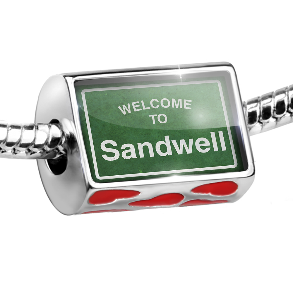 Bead Green Road Sign Welcome To Sandwell Charm Fits All European Bracelets