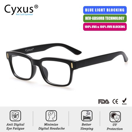 Cyxus Blue Light Blocking Computer Glasses for Anti Eye Fatigue UV Relieving Headaches, Square Black Frame Gaming (Glass Frames For Square Faces)