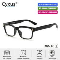 0f7b0e2815c3 Cyxus Blue Light Blocking Computer Glasses for Anti Eye Fatigue UV  Relieving Headaches, Square Black