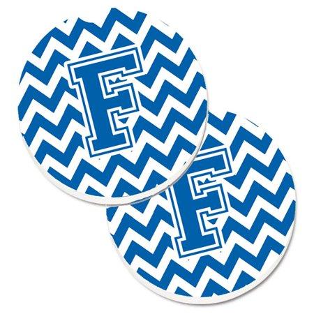 Letter F Chevron Blue & White Set of 2 Cup Holder Car Coaster - image 1 de 1