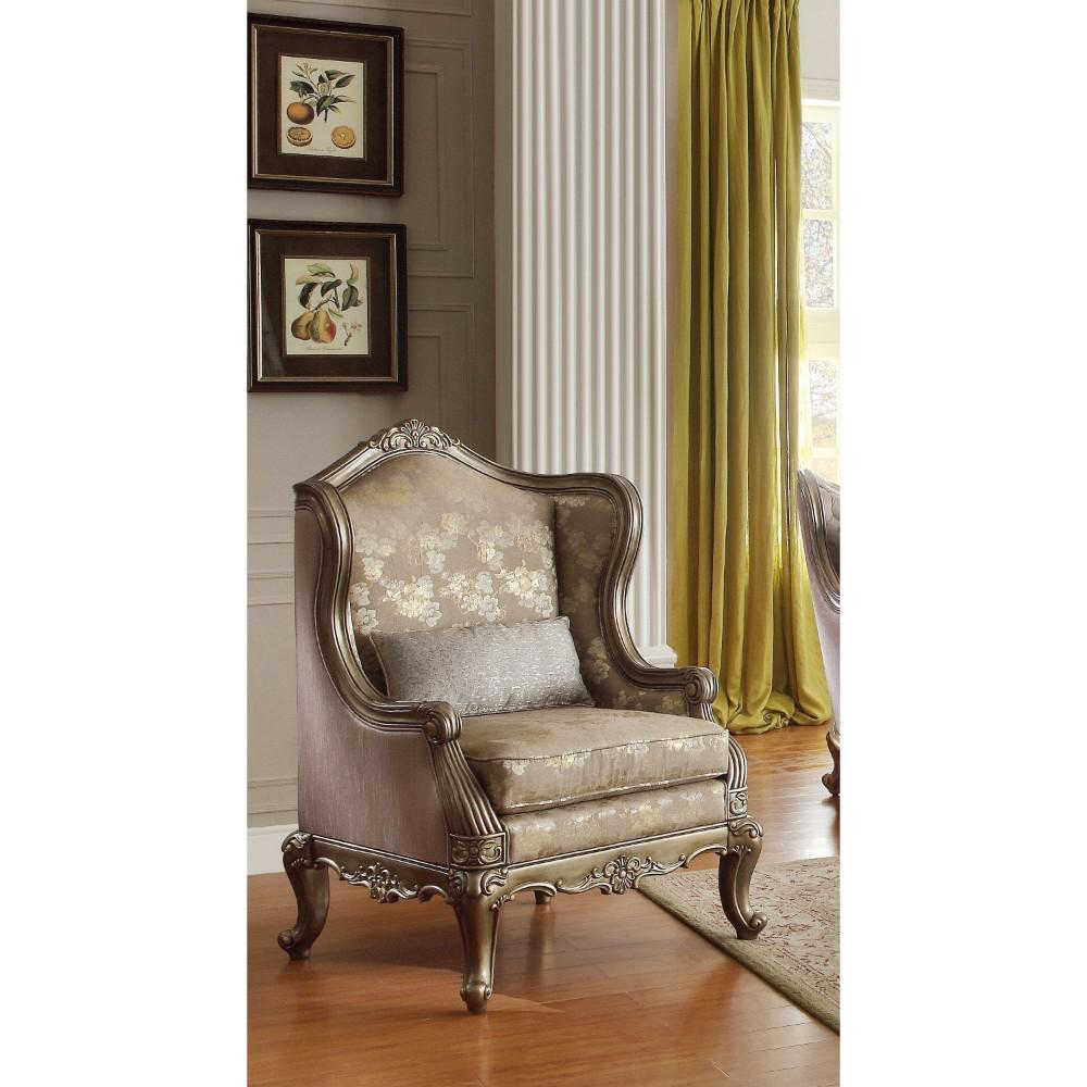 Faux Silk Patterned Accent Chair With Cabriole Legs, Gold