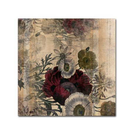 Trademark Fine Art 'Floral Collage Burgundy Bloom' Canvas Art by Marcee -