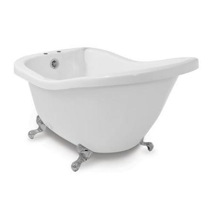 American Bath Factory P7-CT1A-SN & DM-7 Chelsea 59 in. White Acrylic Tub & Drain, Satin Nickel Metal Finish