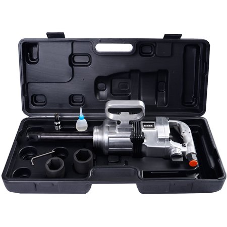 """Zimtown 1"""" Air Impact Wrench Gun, Heavy Duty Industrial Pneumatic Compressor Tool Long Shank Commercial Truck,  Mechanics with Case, 1900 ft/1b , Silver"""