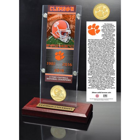 Clemson Tigers Highland Mint College Football Playoff 2018 National Champions 3.5'' x 9'' Ticket & Bronze Coin Acrylic Desk Top - No Size (Ncaa Coins)