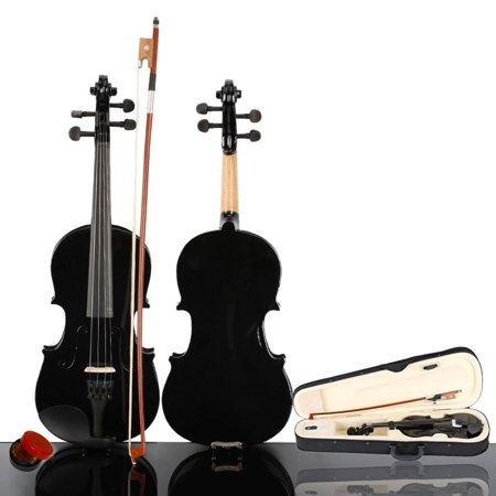 Zimtown New 1/2 Black Acoustic Violin with Hard Case, Bow, Rosin for Kids Children beginners - image 1 de 7