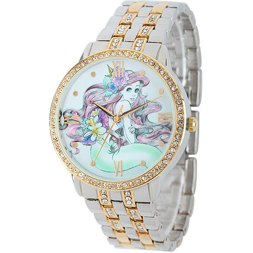 Disney Ariel Women's Alloy Case Watch, Two-Tone CZ Bracelet