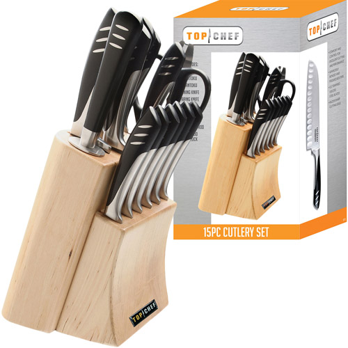 Top Chef 15-Piece Knife Set with Block, Stainless Steel